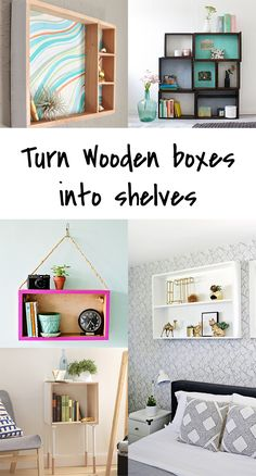 5 diy to try how to upcycle a wooden box into a shelf. Interior Design Ikea, Decorating Your Home, Diy Home Decor, Decorating Bookshelves, Diy Home Accessories, Diy Home Repair, Diy Table, Wooden Boxes, Diy Furniture