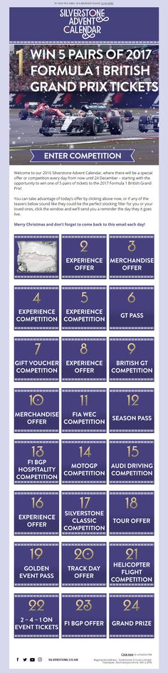 Christmas Advent Calendar Email from Silverstone, with different competitions and offers throughout the month #EmailMarketing #Email #Marketing #Silverstone #Racing #Track #Cars #Hobbies #Sport #Events #Calendar #Advent #Christmas #Competitions #Offers