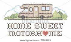 Home Sweet Motorhome, Cross Stitch Embroidery, Class C Model Stock ...