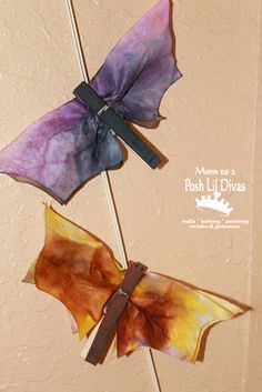 Coffee Filter Bats.  Spray art.