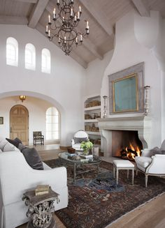 Get cozy by an Isokern Fireplace. The luxurious look and top-of-the-line quality of the Isokern Fireplace will have you to relaxing in style. Isokern's products are made from volcanic pumice, making them the safest, most efficient fireplaces on the market. Visit earthcore.com... Mediterranean Style Homes, Spanish Style Homes, Southern Style Homes, Moroccan Room, Rustic Home Design, Tropical Home Decor, Modern Farmhouse Plans, Great Rooms, House Design