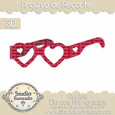 Glasses Valentines Day, Óculos Dia dos Namorados, Corações, Hearts, Dia dos Namorados, Amor, Valentines Day, Love, True Love, Amor Verdadeiro, 3D, Modelo 3D, Projeto 3D, Silhouette, Arquivo de Recorte, DXF, SVG, PNG