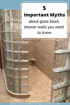 Don't believe the crazy myths about glass block walls! We are here to show you the right way to install a glass block shower wall Glass Block Shower, Glass Floor, Glass Blocks Wall, Block Wall, Glass Block Installation, Innovation, Faux Stone Panels, Tub Enclosures, Diy Bathtub