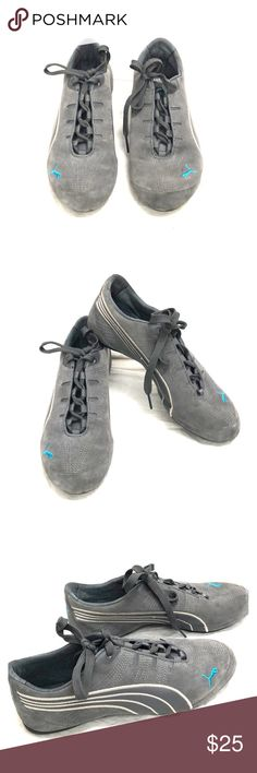 945bf676d0ff91 Grey and Blue Puma shoes size 6 Barely Used. Very comfy size 6 Puma Sneakers