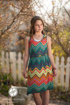 Tween fashion, chevron pattern dress    http://www.heatherdurhamphotography.com