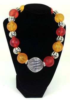 Orange and Yellow  Unique  Resin Choker necklace by 1ofaKindJewlrybyIris, for more details on this necklace , click on the Etsy link below. $125.00