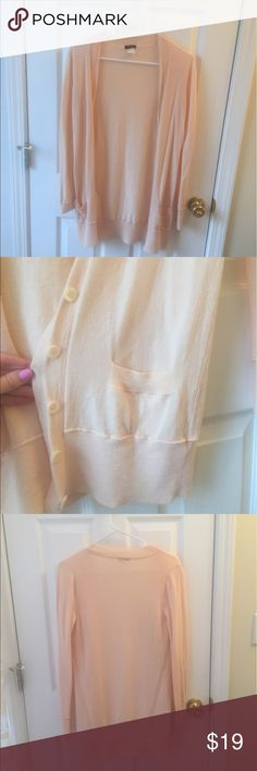 J. Crew light light long cardigan - lightweight Great condition! Size S J. Crew light pink cardigan with front pockets. Very lightweight and great for spring/summer/fall. Please reach out with any questions! J. Crew Sweaters Cardigans