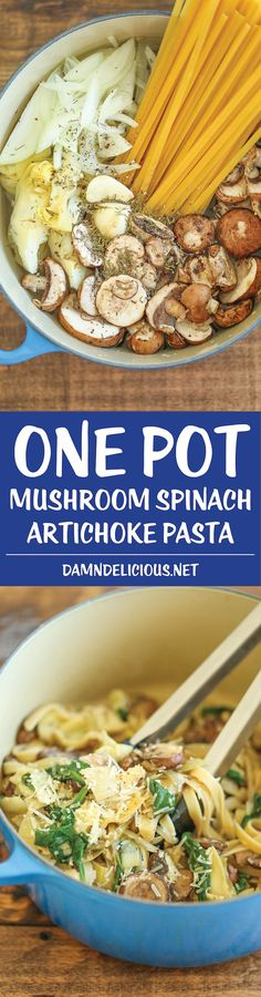 One Pot Mushroom Spinach Artichoke Pasta - Simple, flavorful, hearty, and just 25 min from start to finish. And just one single pot! What more do you need? Skillet Meals, Chicken Spinach Mushroom, Shrimp Mushroom, Mushroom Broth, Spinach Stuffed Chicken, Shrimp Artichoke Pasta, Artichoke Spinach, Easy One Person Meals, One Pot Meals