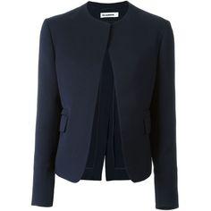 Jil Sander open front jacket (£1,085) ❤ liked on Polyvore featuring outerwear, jackets, blue, jil sander, jil sander jacket, blue jackets and open front jacket