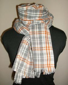 Gray and White Plaid Scarf Handmade Scarf Cotton by jennipink, $25.00