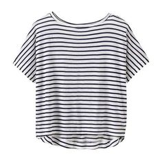 Athleta Women Stripe Crop Tee Size M (72 BRL) ❤ liked on Polyvore featuring tops, t-shirts, shirts, crop tops, t shirt, stripe top, stripe tee, striped crop top and striped crop tee