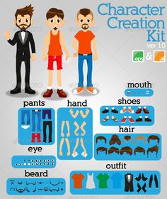 Character Creation Kit! — Vector EPS #boy #cool • Available here → https://graphicriver.net/item/character-creation-kit/2390768?ref=pxcr