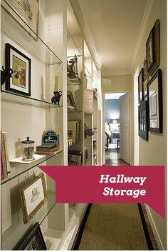 Ideas to add storage to narrow hallways.. http://homedecordesigns.com/hallway-decor-and-storage-ideas/