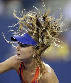 Daniela Hantuchova, of Slovakia, watches a serve toVictoria Azarenka, of Belarus, during a quarterfinal of the U.S. Open tennis tournament Wednesday, Sept. 4, 2013, in New York.