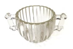 Jeanette National Glass Co. depression glass sugar bowl.  This very nice sugar bowl has two handles and is made of ribbed clear glass that is 1/4' thick. It has a hobnail b... #vintage #etsy #serviceware #cij #vougeteam