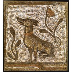Byzantine mosaic panel c c. CE, depicting in multicolored tesserae a collared dog seated facing left amid vegetation. illus, formerly on loan to the Brooklyn Museum Stone Mosaic, Mosaic Art, Ancient Rome, Ancient Art, Byzantine Art, Byzantine Mosaics, Mosaic Animals, Art Sculpture, Roman Art