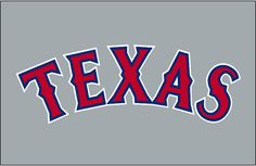 Texas Rangers Jersey Logo (1995) - Texas arched in red with blue and white outlines on grey. Worn on the Texas Rangers road grey uniform from 1995 to 1999