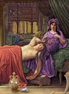 Samson and Delilah Delilah cutting Samson's hair Art by Manuel Gervasini   #Samson #Delilah