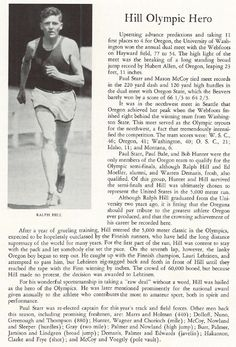 Acknowledging former UO track star Ralph Hill for his efforts at the 1932 Olympics.  From the 1933 Oregana (University of Oregon yearbook).  www.CampusAttic.com