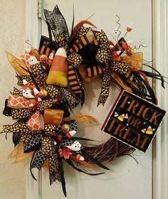 Halloween Wreath, Trick or Treat Wreath, Fall Wreath, halloween decor, Fall…