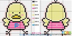 Cute Chicken Cross Stitch Chart or Hama Perler Bead Pattern