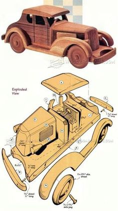 Wooden Deuce Coupe Plan - Children's Wooden Toy Plans and Projects - Woodwork, Woodworking, Woodworking Plans, Woodworking Projects Kids Woodworking Projects, Router Woodworking, Woodworking Patterns, Woodworking Furniture, Woodworking Quotes, Intarsia Woodworking, Woodworking Shop, Woodworking Magazine, Wooden Truck