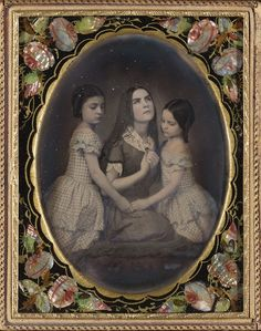 1850s Half-plate daguerreotype, extensively hand-colored, in a gilt-edged lacquered mat with mother of pearl inlay