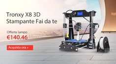 Tronxy X8 220 x 220 x 200mm DIY 3D Stampante da Tavola  -  EU Spina  Nero
