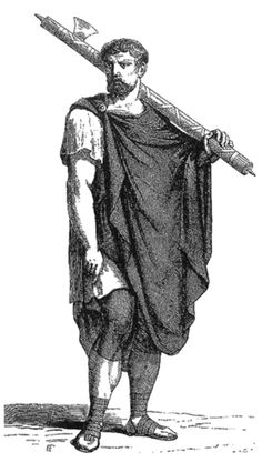 This man is a lictor, who was a bearer that always preceded the consul wherever he went. He is carrying the fasces, which was the symbol of imperium.