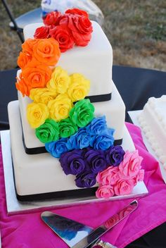 Rainbow Wedding Cake; smaller so i could do cupcakes still