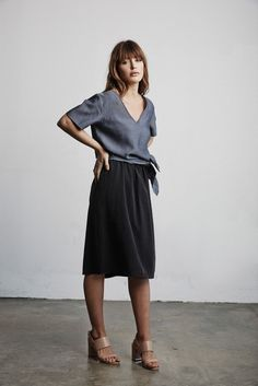 Vetta Capsule SS16 The Tunic  Tied (w/ V-neck in Front) + The Skirt from the Two Piece Dress  #vettacapsule #ss16 #capsulewardrobe #style #fashion #ootd #travel www.vettacapsule.com