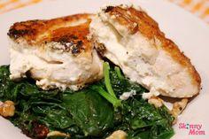 Feta Stuffed Chicken w/ Spinach - a DELICIOUS Skinny Meal! #SkinnyMom