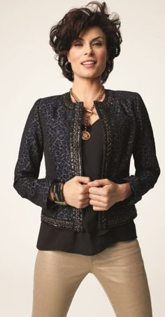 Embellished Animal Jacquard Jacket #Fall  #Lookbook #chicos