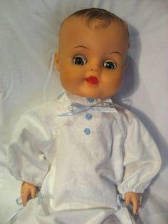 "1956 20"" vinyl flex body doll with blue sleep eyes, white vintage flannelette sleeper Babykins Reliable Vinyl Flex 20 Baby Boy Doll by mychildhooddolls"