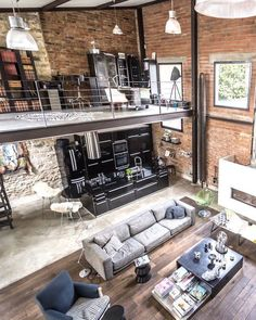 Warehouse Living, Warehouse Home, Converted Warehouse, Industrial Home Design, Industrial House, Industrial Loft Apartment, Modern Loft Apartment, Duplex Apartment, Modern Lofts