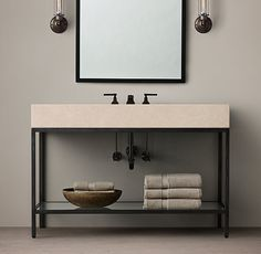 Basement vanity solution. RH inspiration, future ikea hack. Weld steel frame, use ikea bravikken sink. Modern industrial. Use a barn wood shelf instead of glass.