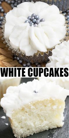 Easy white wedding cupcakes recipe from scratch with white buttercream frosting. These soft and moist white cupcakes are decorated to look like buttercream flowers, using decorating tips. Wedding Cupcake Recipes, White Cupcake Recipes, White Wedding Cupcakes, Cupcake Recipes From Scratch, White Cupcakes, Simple Cupcake Recipe, White Wedding Cake Recipe From Scratch, Wedding Cake Frosting, Simple Cupcakes