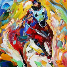 Original oil Equine HORSE palette knife painting by Karensfineart