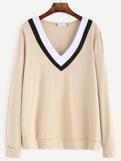 Shop Apricot Contrast Striped V Neck Sweatshirt online. SheIn offers Apricot Contrast Striped V Neck Sweatshirt & more to fit your fashionable needs.