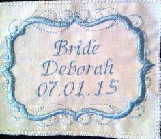 Embroidered Label for Wedding Dress - Swirl Design Border  - Something Blue - Personalised - Bride Groom Mother of the Bride by PreciousDesignsStore on Etsy https://www.etsy.com/listing/225793673/embroidered-label-for-wedding-dress