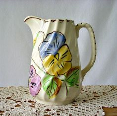 White Pitcher with Hand Painted Flowers Colonial by GSaleHunter, $34.00