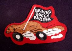"""Patch Badge Beaver Buggy Builder, 4"""" Across, Scouting, Cubs, Beavers, Boy Scouts"""