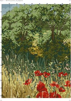 Host of Poppies 4 Cross Stitch Charts, Cross Stitch Designs, Cross Stitch Patterns, Cross Stitching, Cross Stitch Embroidery, Embroidery Patterns, Cross Stitch Landscape, Mosaic Diy, Cross Stitch Flowers