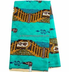 Teal Bazin fabric by the yard/ Damask Fabric Bazin Riche African / African fabric/ African print  B152