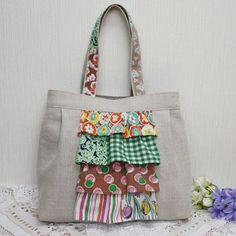 Linen bag of Fidosakku frill Easy Sewing Patterns, Purse Patterns, Craft Patterns, Handmade Handbags, Handmade Bags, Sewing Crafts, Sewing Projects, Diy Handbag, Fabric Bags