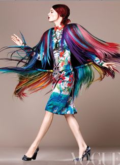 Multicolor fringe coat. Vogue Mexico 2012