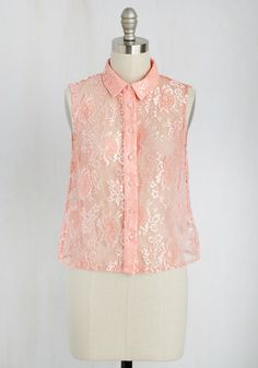 Something in the Way Sheer Moves Top. Feminine, flirtatious, and gorgeously graceful? #pink #modcloth