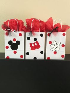 Mickey Mouse party favor bags by DivineGlitters on Etsy