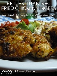 Low Carb KFC Original Recipe Fried Chicken Fingers Recipe from Fluffy Chix Cook are tender and moist with great low carb flare.