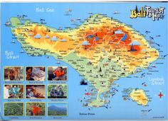 bali map with tourism objects